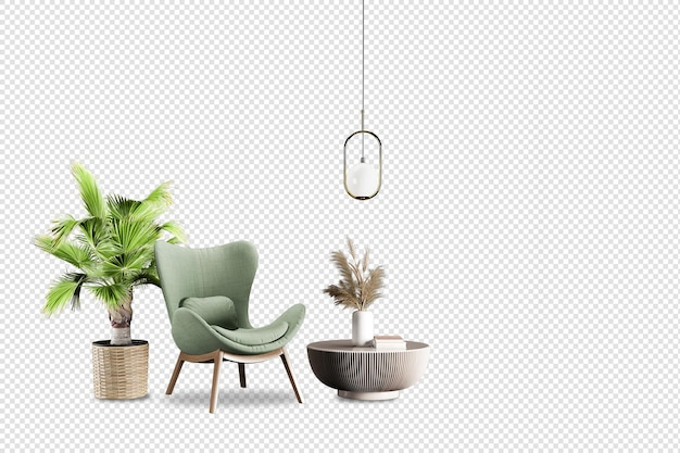 Зеленое кресло и растение в 3d-рендеринге