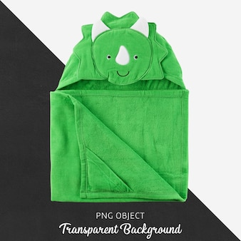 Green baby or children's towel, bathrobe on transparent background