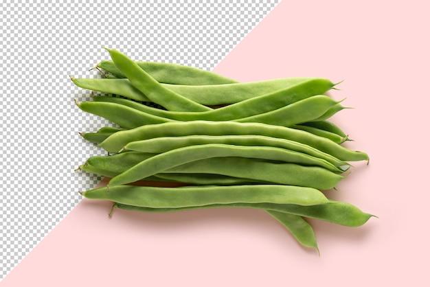 분홍색 배경에 녹색 콩 모형