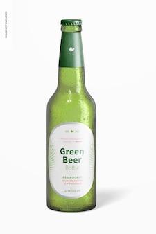 緑のビール瓶のモックアップ
