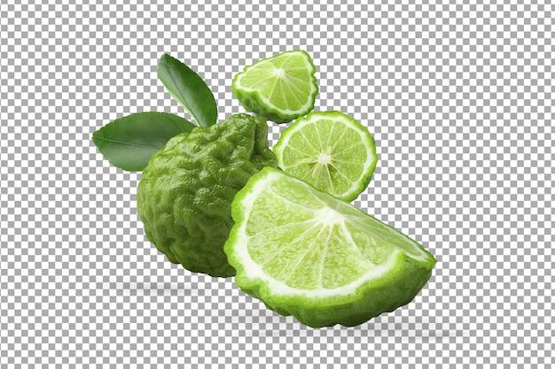 Green bergamot fruit and leaves