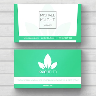 Green business card, nature theme