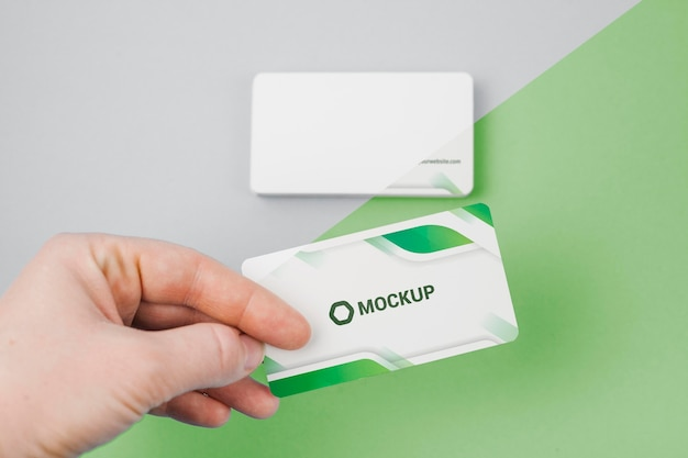 Green business cards mock-up Premium Psd