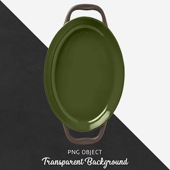 Green ceramic ovenware on transparent background