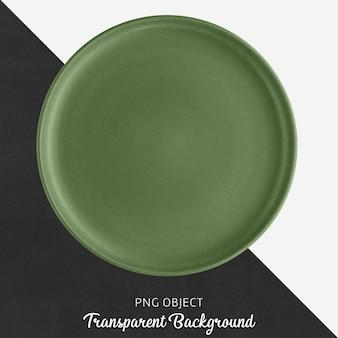 Green ceramic round plate on transparent background