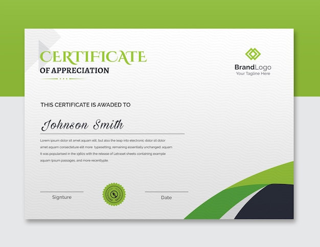 Green certificate of achievement template