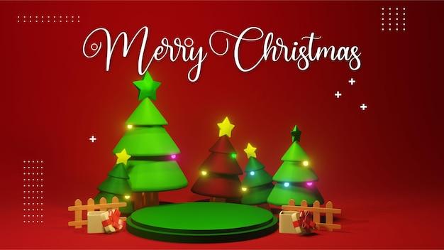 製品プレゼンテーションの配置のためのグリーンクリスマス表彰台3dレンダリング、クリスマス表彰台セールと結婚