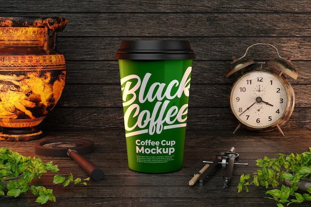 Green coffee cup mockup with urn and alarm clock decorations