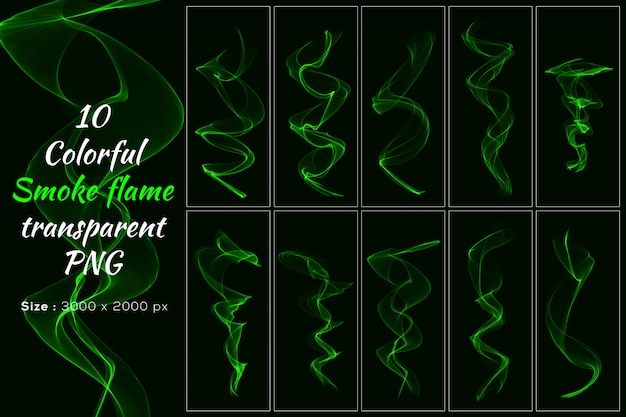 Green color smoke flame transparent collection Premium Psd
