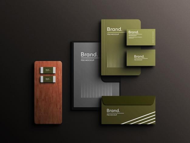 Green color stationery branding corporate identity top view mockup scene creator