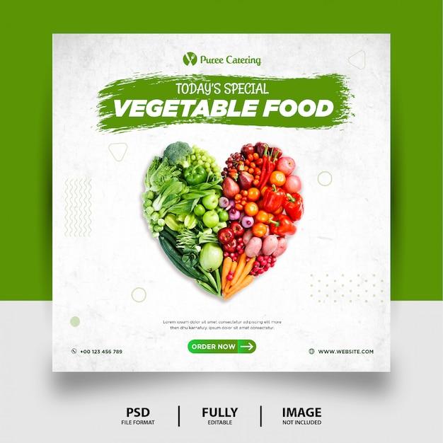 Green color vegetable food social media post banner