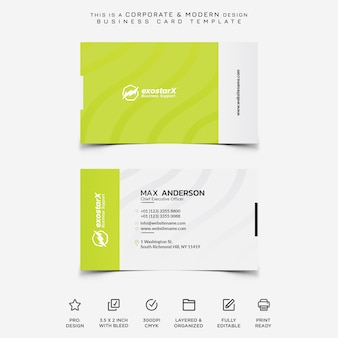 Green corporate and modern business card