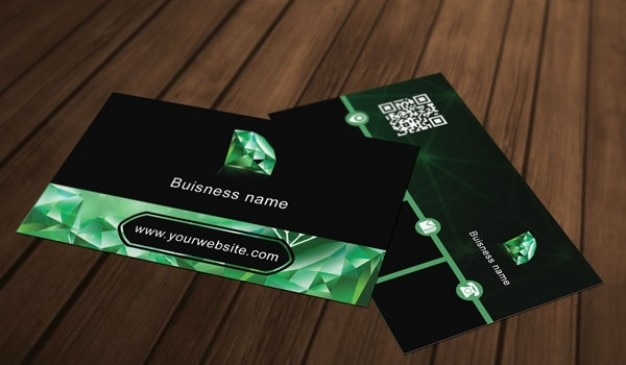 Green diamond business card template