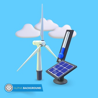 Green energies to reduce climate change. 3d illustration