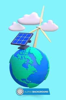 Energia verde per ridurre i danni del cambiamento climatico. illustrazione 3d