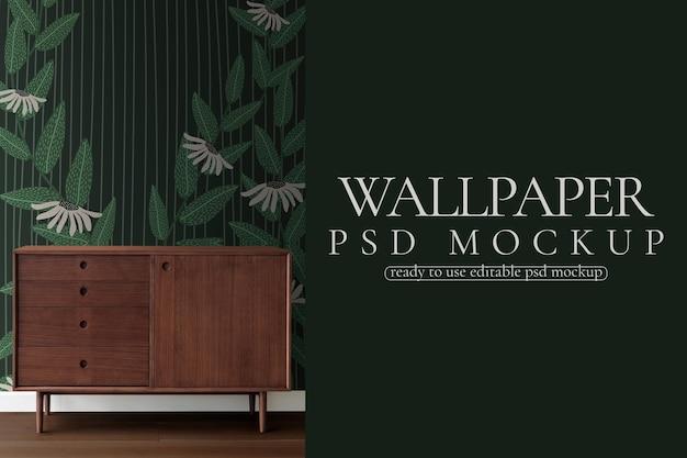 レトロなスタイルの緑の花の壁紙psdモックアップ