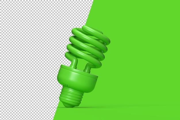 Зеленая люминесцентная лампа на зеленом