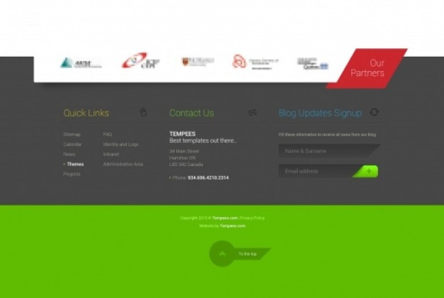 Green footer with partner logo