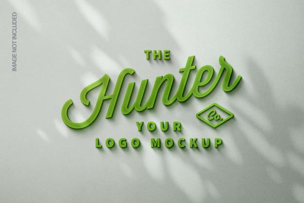 Green glowing logo mockup with shadow overlay Premium Psd