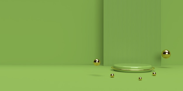 Green and gold 3d rendering of abstract scene geometry shape podium for product display
