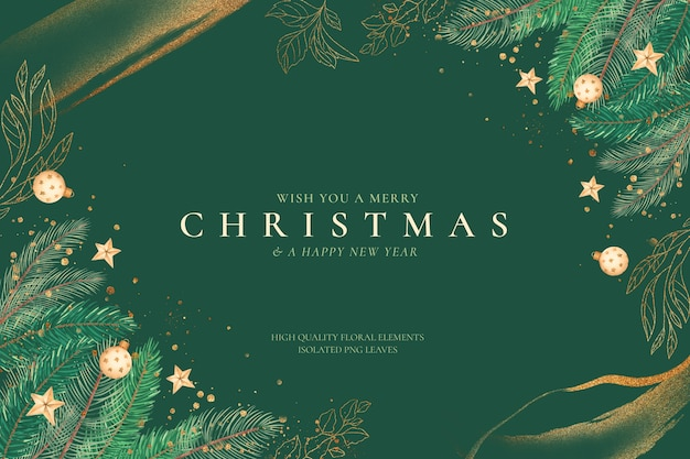 Green and golden christmas background with ornaments