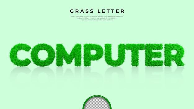 3d 렌더링에서 컴퓨터 단어의 푸른 잔디