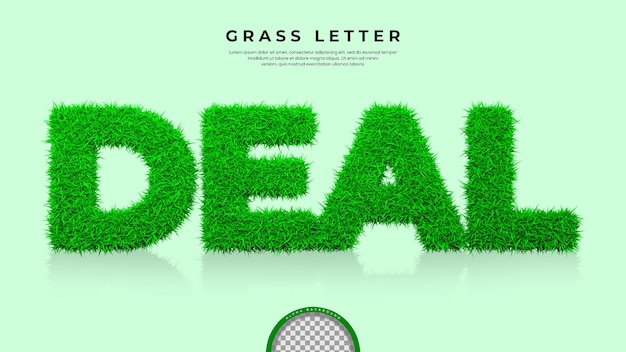 3d 렌더링에서 거래 단어의 녹색 잔디