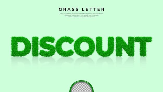 3d 렌더링에서 할인 단어의 녹색 잔디