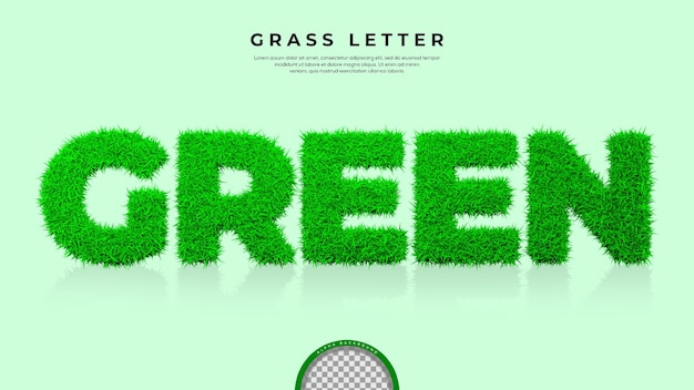 3d 렌더링에 녹색 단어의 푸른 잔디