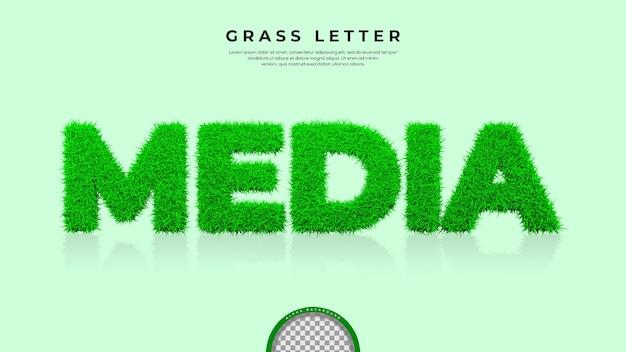 3d 렌더링에서 미디어 단어의 녹색 잔디