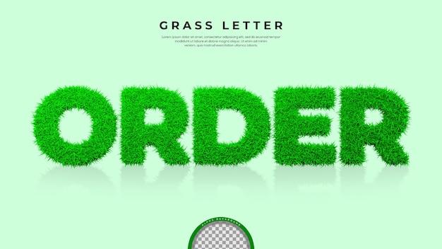 3d 렌더링에서 주문 단어의 녹색 잔디