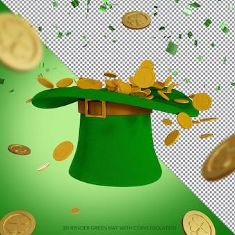 Зеленая шляпа и золотые монеты для рендеринга ко дню святого патрика