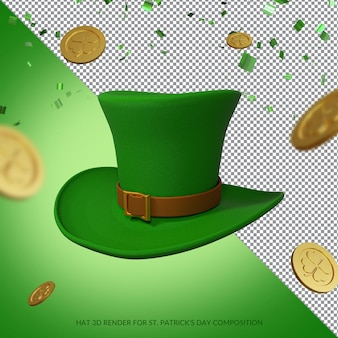 Green hat and gold coins for st. patrick's day rendering