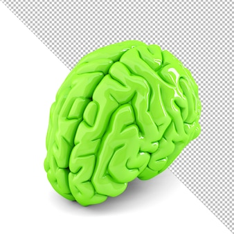 Green human brain close-up 3d illustration