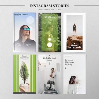 Green instagram story template