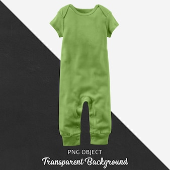 Green jumpsuit for baby or children on transparent background