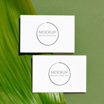 Mockup di carte foglia verde