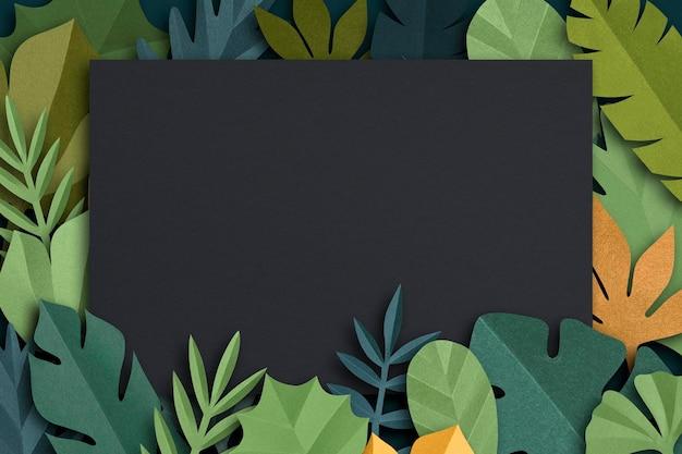 Зеленая рамка из листьев psd-макет в стиле поделок из бумаги