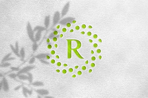 Зеленый лист макет логотипа с белой бумагой