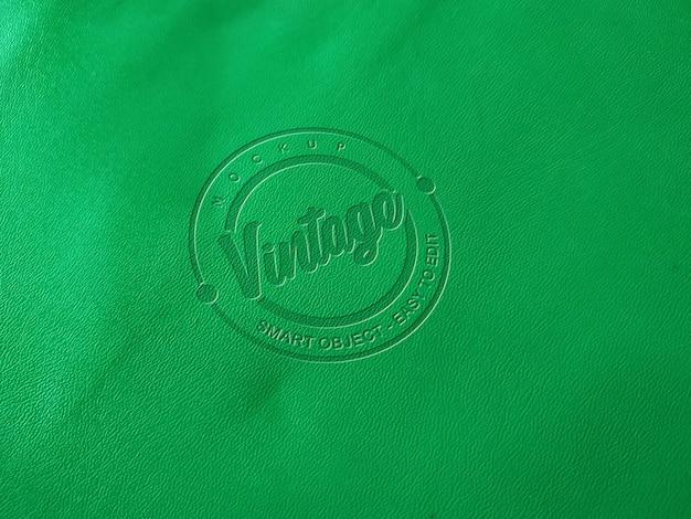 Зеленый кожаный макет логотипа