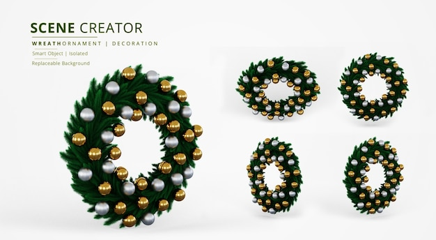 Green leave wreath ornament with gold and silver plastic ball decoration scene creator