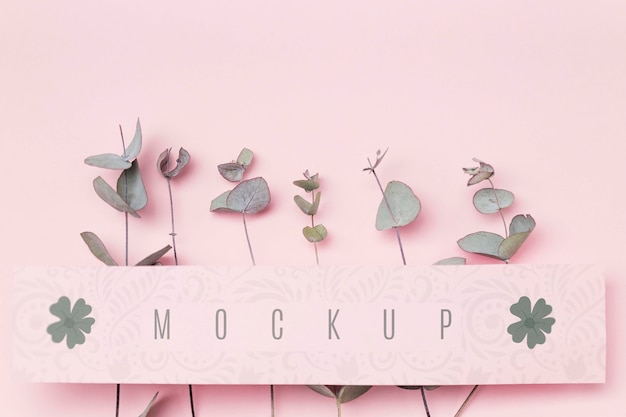 Green leaves with message mockup