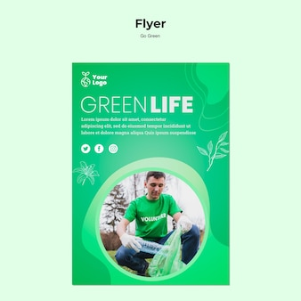 Green life environmental flyer template