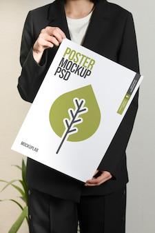 Зеленый макет постера жизни