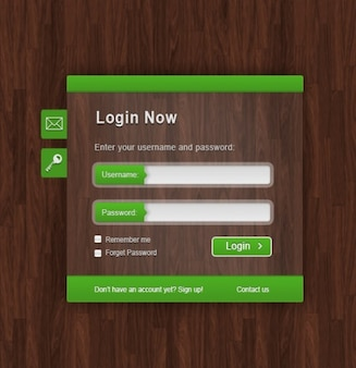 Green login form on wood texture