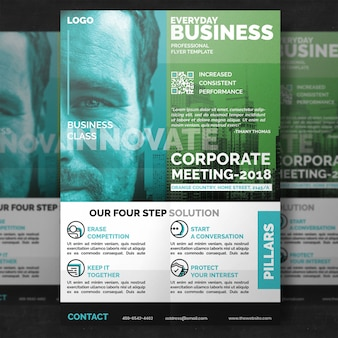 Green minimal corporate flyer template