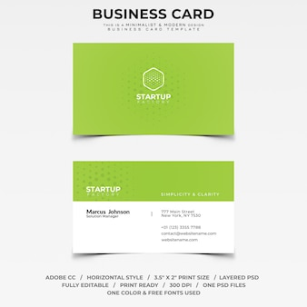 Green minimalist and modern business card