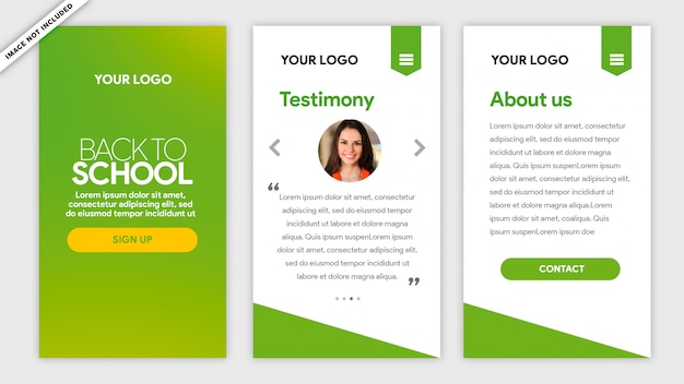Green mobile template back to school