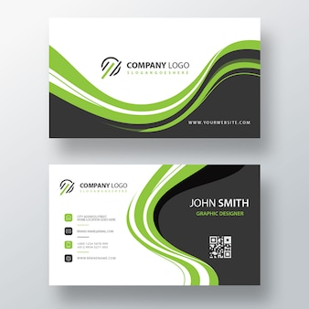Green modern psd visit card template