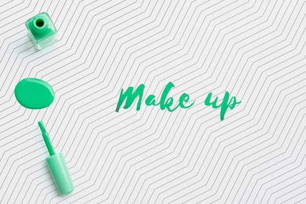 Green nail polish make-up concept mock-up